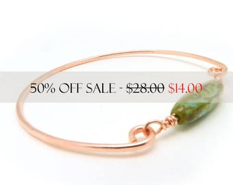 Copper Bangle, Bangle Bracelet, Copper Bracelet, Copper Jewelry, Green and Copper, Hammered Copper, Minimalist Jewelry, By Durango Rose