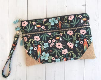 Floral Zipper Pouch Floral Purse Floral Hand Bag Rifle Paper Co Clutch Purse Double Zipper Pouch Gift For Her Wristlet Clutch Cosmetic Bag