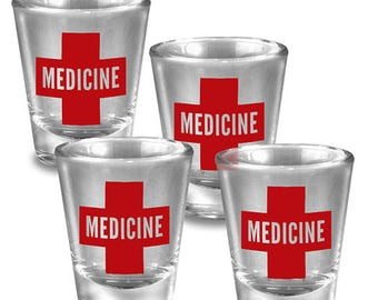 Medicine - Set of 4 - Shot Glass glassware set gold leaf - Fun Gift Set - Comes Gift Boxed - By Trixie and Milo