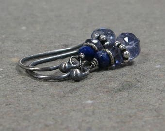 Blue Iolite Earrings Lapis Lazuli Oxidized Petite Sterling Silver Gemstone Stack Gift for Her