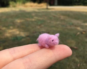 Miniature Pig Tiny Needle Felted Animal