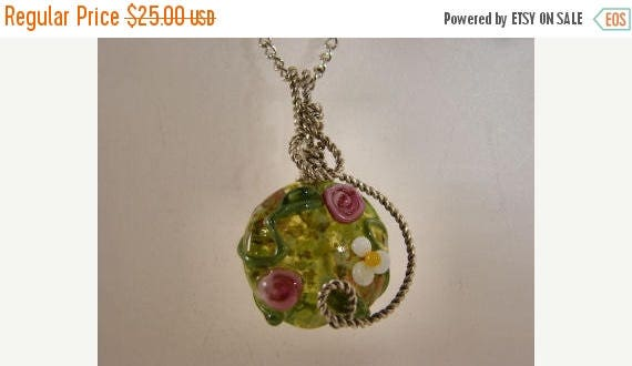 Moving Sale 40% Off Sterling Silver Floral Lampwork Pendant, green, pink, white, yellow