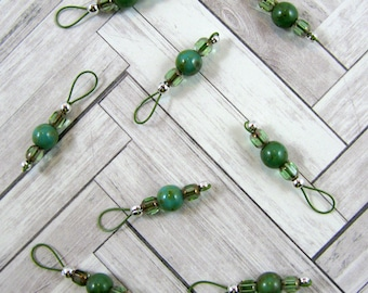 Green Czech and Light Green Cathedral Beads on Khaki Wire Stitch Markers - US 5 - Item No. 1069