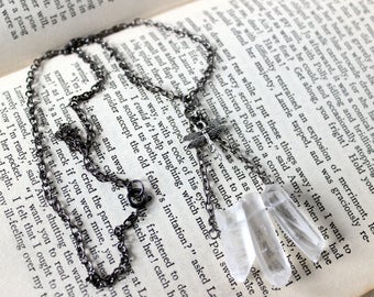 Raw Quartz Points and Dragonfly Gunmetal Necklace - Witchcraft Witchy Wicca Pagan