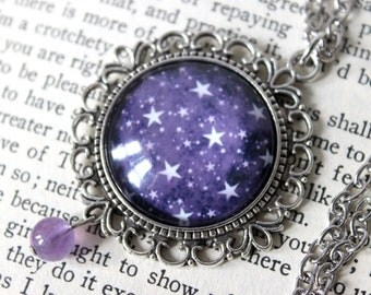 Purple Starry Sky Cabochon Silver Necklace with Amethyst Bead - Celestial Victorian Witchy