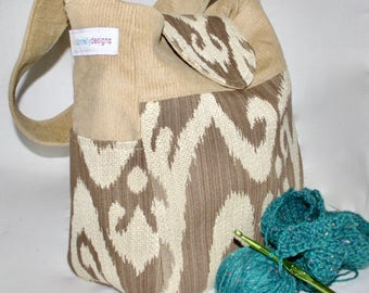 Tan, corduroy, upholstery, Knitting Bag, VEGAN, Vinyl Interior, Lots of Pockets, girl's bag, crochet organizer, medium bag, knitting project