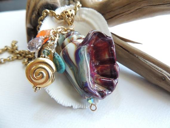 Art Glass Conch Seashell Pendant