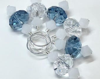 Stitch Markers - Dark Indigo/Crystal and Alabaster Swarovski Crystal