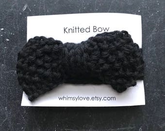 Knitted Bow - black
