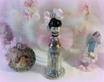 Frozen Charlotte Vintage Salt Shaker, Silver Glitter Angel, Porcelain China Doll Head, Decoration, Crafting, Home Decor, German Doll Head