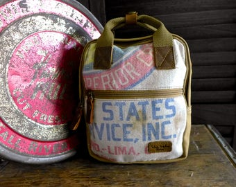 Superior Crop - Lima Ohio - Mini Backpack/ Shoulder Bag/ Mini Tote - Vintage seed sack Canvas & Leather Bag Selina Vaughan Studios