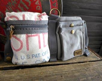 Hershey's Sugar - Hoffman Seed  -  Convertible Belt/Waist Bag Vintage seed sack - Americana OOAK Canvas & Leather Bag Selina Vaughan Studios