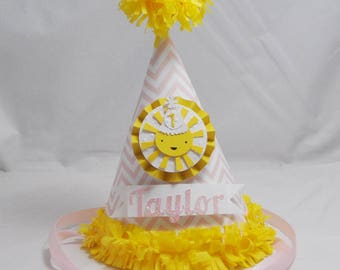 Baby Pink Sunshine 1st Birthday Party Hat- Personalized Girl