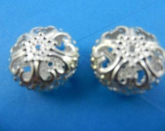 23mm iron large hollow filigree beads bright silver plate finish nickel free 6 pieces EO60s