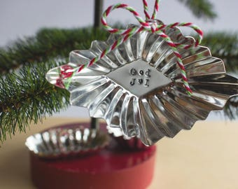 stamped tin Christmas ornament set - holiday ornaments - international greetings - Christmas decor - silver ornaments - hand stamped