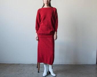 red knit skirt set / oversized sweater and skirt / maxi skirt set / s / m / 3089t / B5
