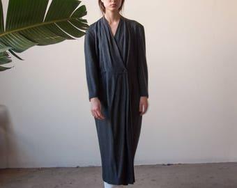 gray wool knit wrap dress / minimalist dress / belted maxi dress / s / m / 2256d / B3
