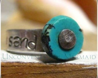 """Sterling Silver """"footprints IN THE sand"""" turquoise Ring Size 5"""