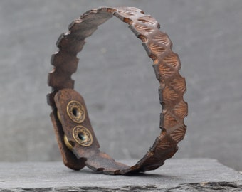 Leather Bracelet Cuff Hand Tooled Handmade Geometric Stamped Antique Vintage Rustic Look.