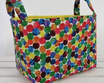 READY TO SHIP - Storage and Organization  - Multi Color Dots Fabric - Fabric Organizer Bin Storage Container Basket