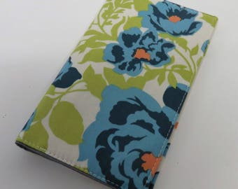 Checkbook Cover Case Cheque Coupons Money Holder - Blue Orange Flowers Floral on White Fabric