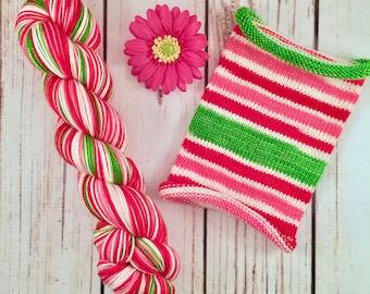 Merry Mint, long repeat: Hand-dyed gradient self-striping sock yarn, 80/20 SW merino/nylon
