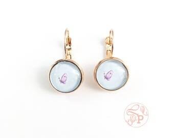 Butterfly rose gold earrings / rose gold pierced earring / rose gold jewellery / butterfly jewelry gift / pale blue / purple butterfly