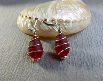 RED SEAGLASS EARRINGS drop earrings nickle free wire wrapped
