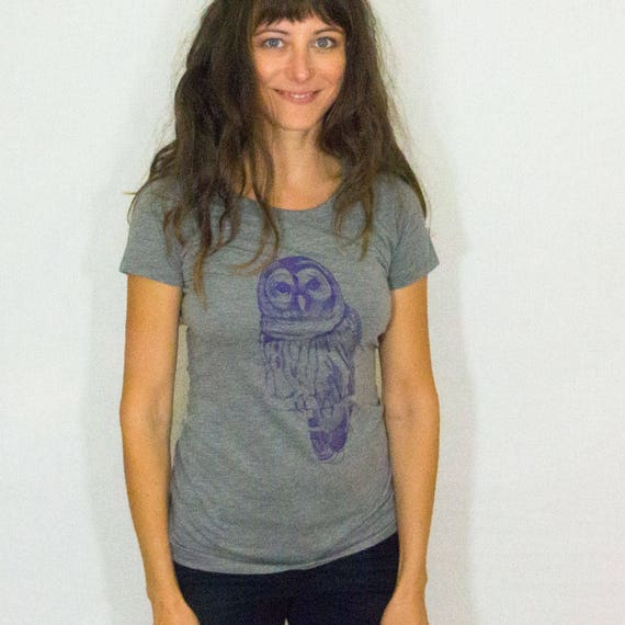 Women's Owl Screen Printed Tee Shirt