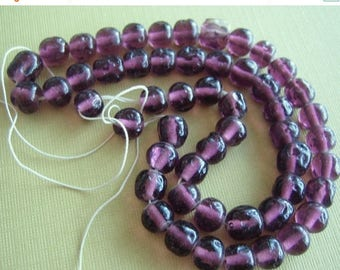 30% off SALE Vintage glass beads (50)  strand Japan purple  translucent amethyst 8mm bumpy baroque beads Miriam Haskell 14 inch (50)