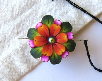 Orange and Pink Flower Needle Minder Magnetic Sewing Needle Notions