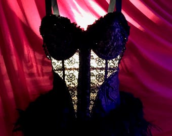 Hand Made Tramp Lamp crafted from a Vintage Black Lace Bustier open bottom girdle trimmed in Black Feathers Toile Roses and Beads