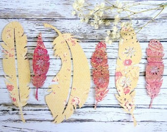 6 paper feathers. Hand-made supplies, craft embellishment, romantic boho wedding/ party decor. Wish tree tags. Autumn / Fall colours