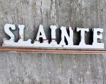 Slainte Sign, Wood Bar Sign, Irish Toast, Gaelic Drinking Sign, irish Blessing, Irish Decor, Reclaimed Wood Sign, College Decor