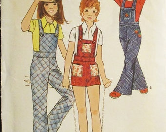 1960s Vintage Sewing Pattern Butterick 6352 Girls Overalls Pattern Size 8 Breast 27