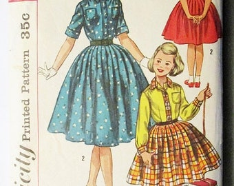 30% OFF SALE 1950s Vintage Sewing Pattern Simplicity 2164 Girls One-Piece Dress Pattern Size 10 Breast 28