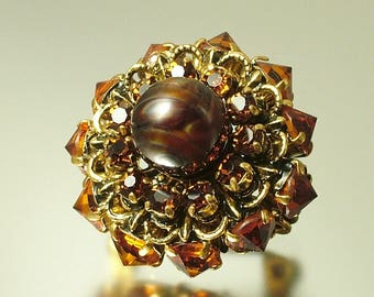 Vintage/ estate 1940s / 50s gold tone filigree and brown paste/ glass, costume brooch/ pin - jewelry jewellery