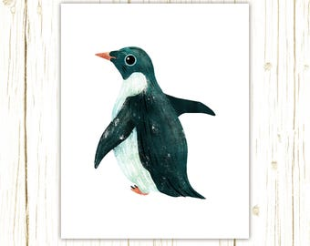 Adelie Penguin Print -- bird art -- colorful bird art by stephanie fizer coleman illustration