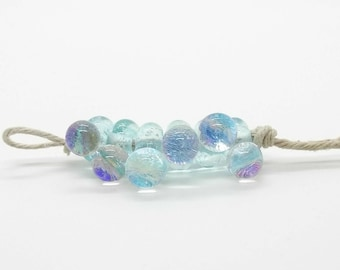 Mermaid Bubbles Aqua Dichro Handmade Lampwork Glass Beads - Prima Donna Beads