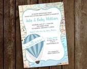 Travel Baby Shower Invitation - Hot Air Balloon Invitation - Oh the Places He'll Go - Baby Shower Invitation Travel - Balloon and Map Baby