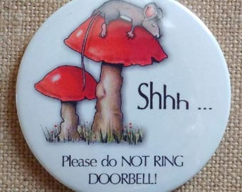 Door Magnet, Shhh ... Please Do Not Ring Doorbell! Cute Mouse Sleeping On Toadstool, Baby Sleeping, Night Shift Worker, Three Inch Magnet