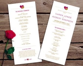 Modern Hearts Cute and Simple Wedding Ceremony Program