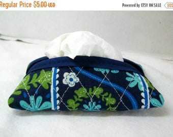 Flash Sale Quilted Tissue Holder - Pocket Size Tissue Case - Floral Purse Tissue Cozy - Navy Turquoise Olive Green