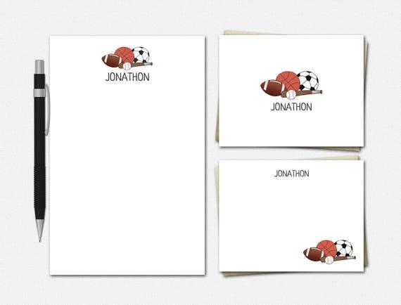 Personalized Sports Stationery Set - Personalized Stationery - Sports Stationery for Men - Stationery for Boys - Custom Sports Stationery