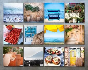 Sale - Set of 12 Crete Greece  travel photo prints set 5x5 wall art photography gallery wall travel art decor 5x5 square prints