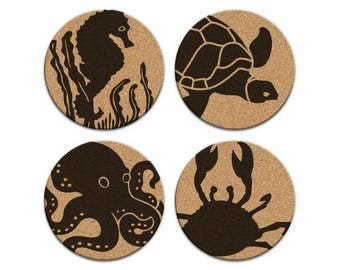 Seahorse Turtle Octopus Crab Nautical Coastal Cork Coaster Set Of 4 Home Decor Barware Decoration