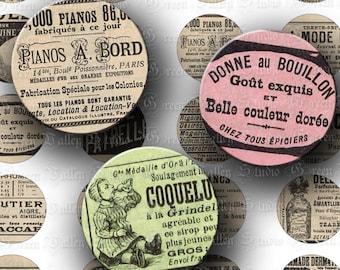 INSTANT DOWNLOAD Set of 2 Digital Sheets Vintage French Ads France Digital Images 1 Inch Circles Pendants Magnets Scrapbooking (C178-179)
