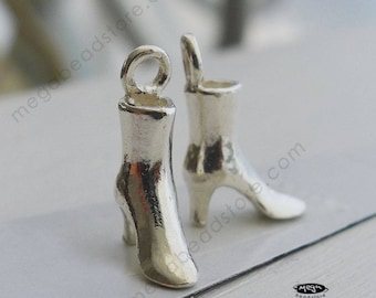 2 pcs 3D Boot Sterling Silver Shoes Charms 13mm x 9mm x 4mm F85