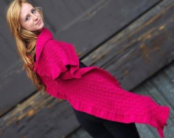 Rococo Merino Wool Hand Knit Shawl in FUCHSIA, Luxurious Merino Wool Wrap, Women's Fall Winter Scarf Fashion, Hygge, Warm, Pink