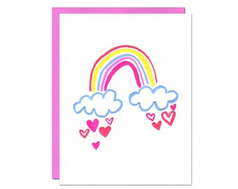 Rainbow Card / Blank Inside / Letterpress Printed in Happy and Colorful Neon Inks with Rainbow, Clouds, and Hearts
